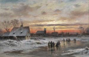 Heitinger Paul, PEJZAŻ ZIMOWY O ZACHODZIE SŁOŃCA, 1901