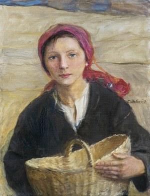 Axentowicz Teodor, HUCUŁKA Z KOSZEM, OK. 1910