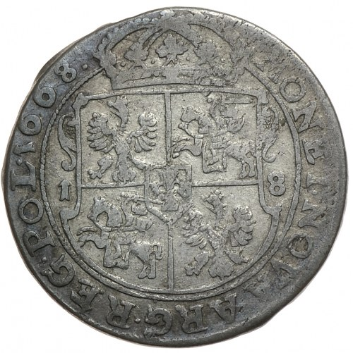 Jan II Kazimierz, ort 1668 TLB, Bydgoszcz z błędem REE zamiast REX