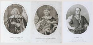 Aleksander LESSER, Henryk ASCHENBERGER, Zestaw 3 litografii - Królowie Polski