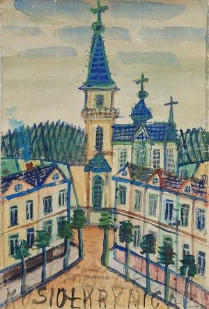 NIKIFOR KRYNICKI (1895-1968), Krynica - widok na kościół