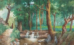 Hiacynt ALCHIMOWICZ (1841-po 1897), Pejzaż z kaskadą wodną