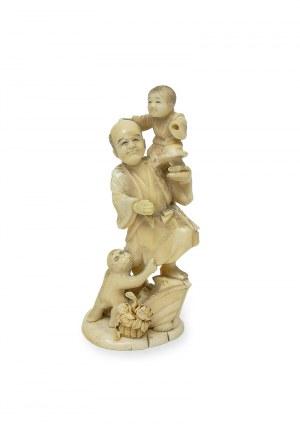 Okimono Mężczyzna z dzieckiem i małpą