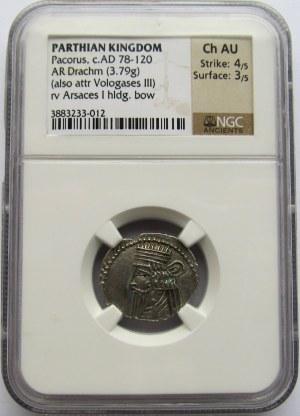 Partowie, Pacorus 78-120 r n.e., Drachma - NGC Ch AU