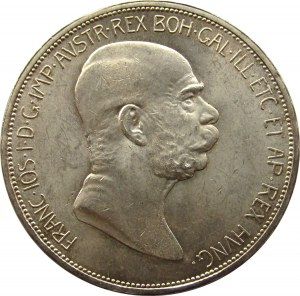 Austro-Węgry, Franciszek Józef I, 5 koron 1908, UNC