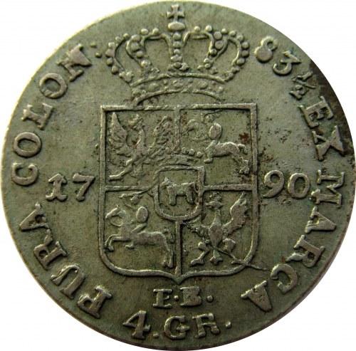 Stanisław A. Poniatowski, 4 grosze srebrne (złotówka) 1790 E.B.