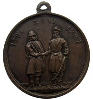 Polska, medalik na 100-lecie uchwalenia Konstytucji 3-go Maja 1791, brąz