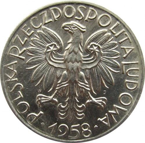 Polska, PRL, Rybak, 5 złotych 1958, szeroka ósemka, UNC/UNC-