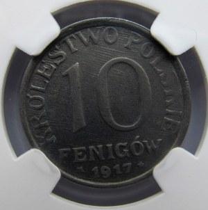 Królestwo Polskie, 10 fenigów 1917, rzadka odmiana, UNC