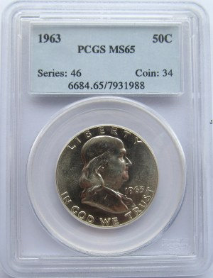 USA, Franklin, 50 centów 1963, PCGS MS65