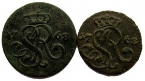 Stanisław A. Poniatowski, zestaw 2 monet, szeląg i 1/2 grosza 1768 G