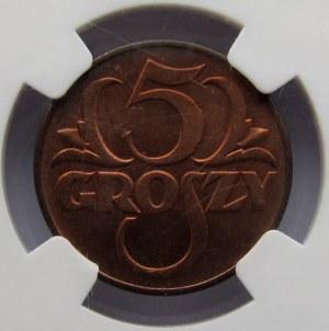 Polska, II RP, 5 groszy 1938, NGC MS63RB