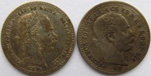 Austria, Franciszek Józef I, zestaw 2 monet 10 krajcarów 1869, 1870