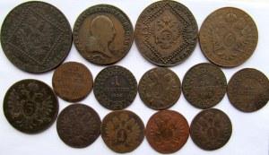Austria, Józef II, zestaw 14 miedzianych monet 1-30 krajcarów 1793-1812
