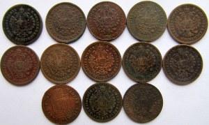 Austria, Franciszek Józef I, zestaw miedzianych monet 5/10 krajcara 1858-1885
