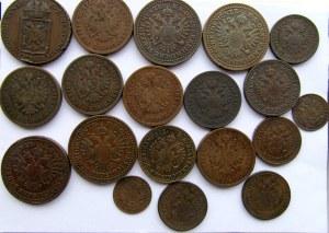 Austria, Franciszek Józef I, zestaw 19 miedzianych monet 1848-1864