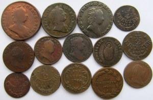 Austria, Maria Teresa, Franciszek II, zestaw 14 monet miedzianych 1745-1816