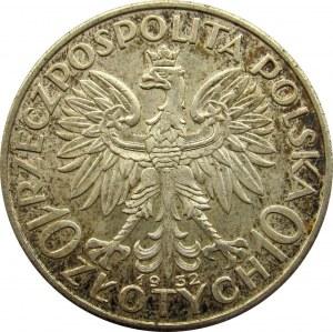 Polska, II RP, Głowa Kobiety, 10 złotych 1932 bzm