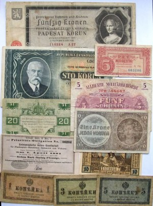 Czechy/Austria/Rosja, zestaw 10 banknotów