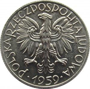 Polska, PRL, Rybak, 5 złotych 1959, UNC/UNC-