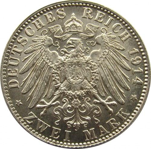 Niemcy, Bawaria, 2 marki 1914, UNC