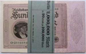 Niemcy 1871-1924, paczka banknotów 100000 marek 1923, UNC