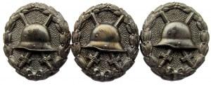 Niemcy, lot 3 sztuk odznaki za rany, I wojna światowa, półprodukty, CIEKAWOSTKA