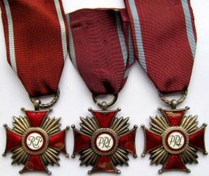 Polska, RP i PRL, Srebrny Krzyż Zasługi, zestaw 3 sztuk