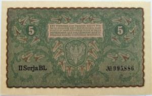 Polska, II RP, 5 marek 1919, II seria BL, UNC