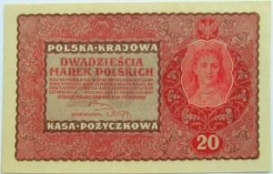 Polska, II RP, 20 marek 1919, II seria FR, UNC