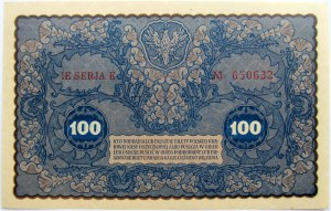 Polska, II RP, 100 marek 1919, IE seria E, UNC