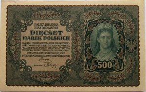 Polska, II RP, 500 marek 1919, I seria BB, UNC-