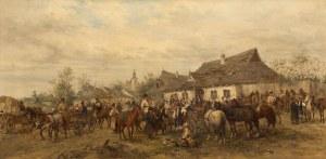 Ludwik Gędłek, Koński targ na przedmieściach, 1881
