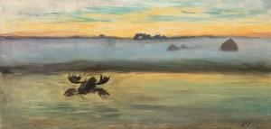 Julian Fałat, Łoś na bagnach. Świt nad rozlewiskami, przed 1893