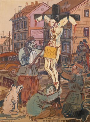 Edward Dwurnik, Chrystus na podwórku z cyklu Krzyż, 1979