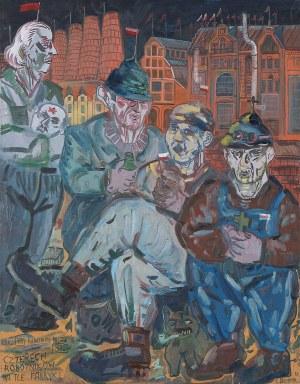 Edward Dwurnik, Czterech robotników na tle fabryki, 1984
