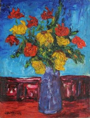 Jan Dutkiewicz (1911-1983), Róże w wazonie (1974)
