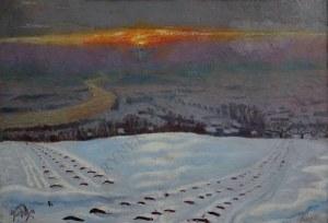 Ludwik Leszko (1890-1957), Zakole Wisły o zachodzie słońca