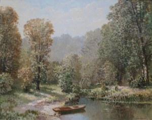 Konstanty Mackiewicz (1894-1985), Pejzaż letni z łódką