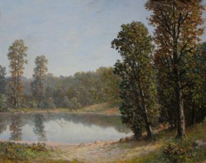Konstanty Mackiewicz (1894-1985), Pejzaż letni z jeziorem