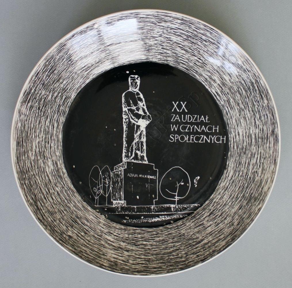 Talerz pamiątkowy XX ZA UDZIAŁ W CZYNACH SPOŁECZNYCH (Chodzież, 1965)