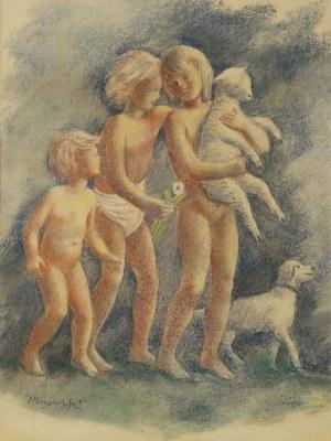 Wacław Borowski (1885–1954), Dzieci z owieczką i psem, 2. ćw. XX w.*