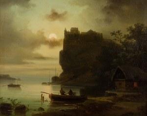 Colestin Brugner (1824-1887) - Zamek nad rzeką podczas pełni księżyca
