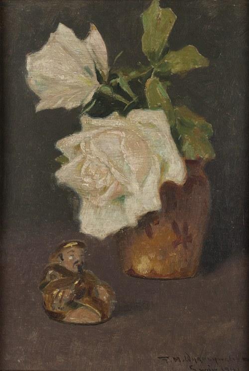 Feliks Michał Wygrzywalski (1875 Przemyśl - 1944 Rzeszów), Kwiaty białej róży i figurka buddy, 1917 r.