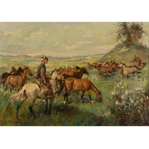 Tadeusz Kokietek (1920-1982), Wypas koni, 1976 r.