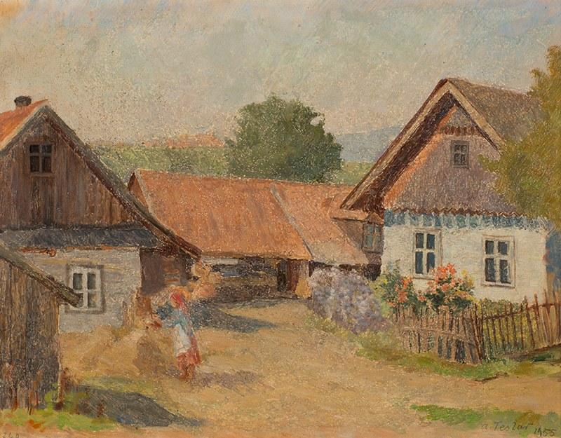 Antoni Teslar (1898-1972), Na wiejskim podwórzu, 1955 r.