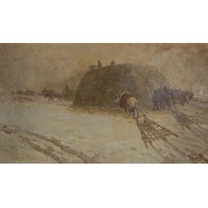 Artur Wacław Wielogłowski Starykoń (1860 Odonów-1933 Warszawa), Pejzaż zimowy z końmi
