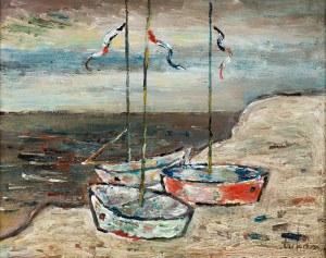 Eugeniusz Tukan-Wolski (1928 - 2014), Łodzie na plaży, lata 90. XX w.