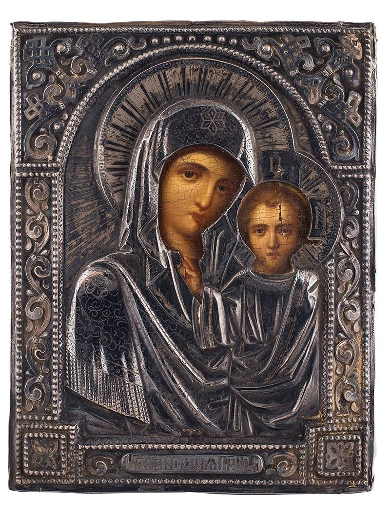 Oryginał Ikona - Matka Boska z Dzieciątkiem Kazańska, Rosja, pocz. XX w. YX22