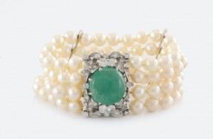 Bransoleta z perłami i diamentami